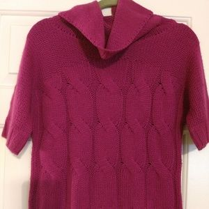 """Used cowl neck rasberry pink sweater """"S Good cond"""